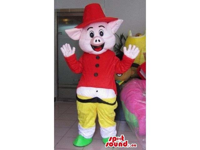 Cute Pig Animal Canadian SpotSound Mascot Dressed In Special Clothes Like A Red Hat