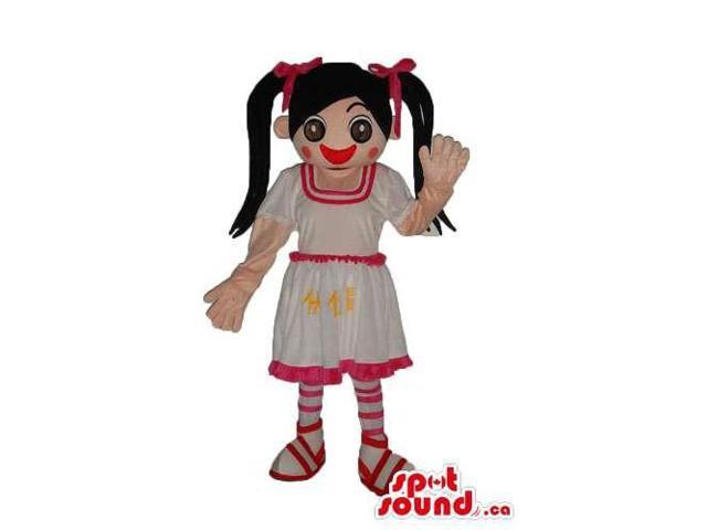 Girl Character Canadian SpotSound Mascot Dressed In A Pink And White Dress