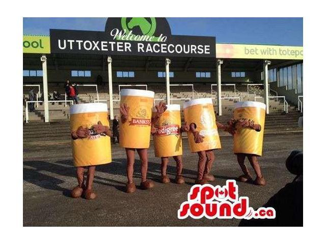 Group Of Five Beer Jar Canadian SpotSound Mascots With Brand Names And Logos