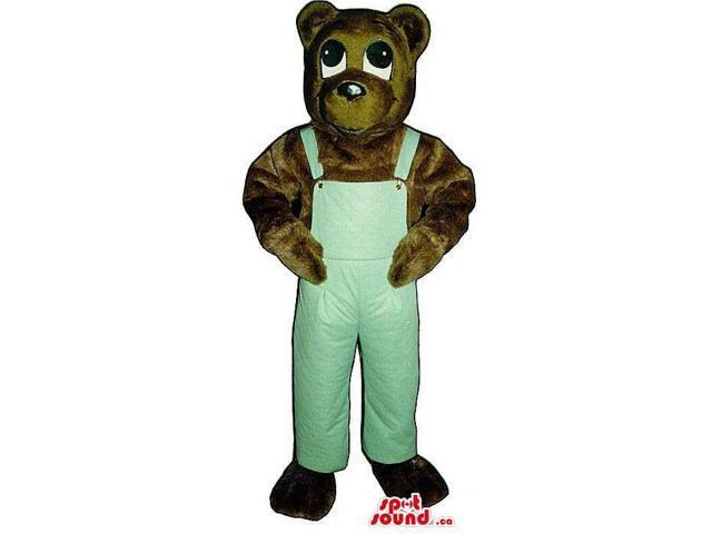 Dark Brown Bear Plush Canadian SpotSound Mascot Dressed In Blue Overalls