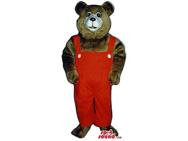 Dark Brown Bear Plush Canadian SpotSound Mascot Dressed In Red Overalls