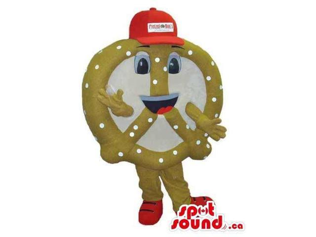 Pretzel Snack Food Canadian SpotSound Mascot Dressed In A Red Cap With Logo