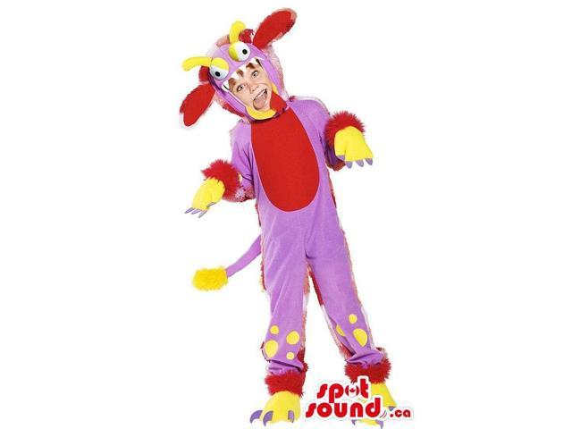 Purple And Red Monster Children Size Plush Costume