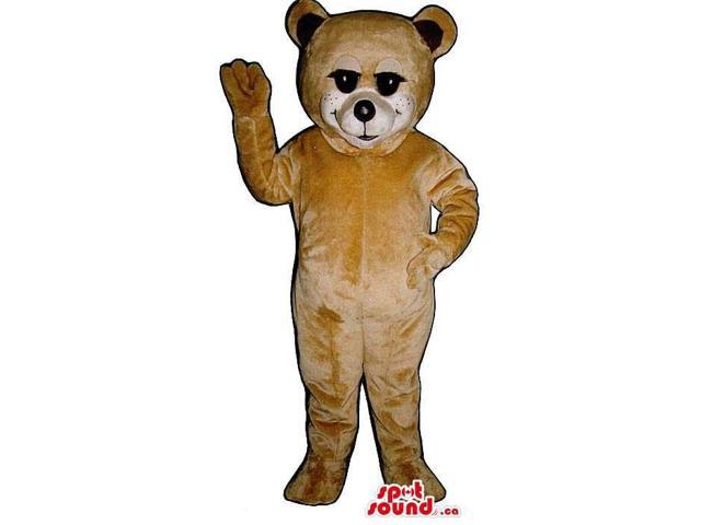 Cute Light Brown Teddy Bear Canadian SpotSound Mascot With Black Eyelashes