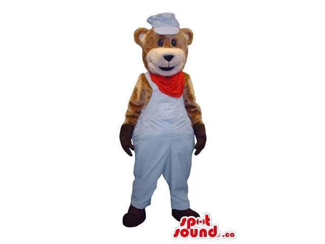 Teddy Bear Plush Canadian SpotSound Mascot Dressed In White And Red Cook Clothes