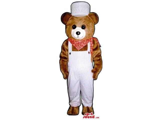 Brown Bear Plush Canadian SpotSound Mascot Dressed In White Overalls And A Neck Scarf