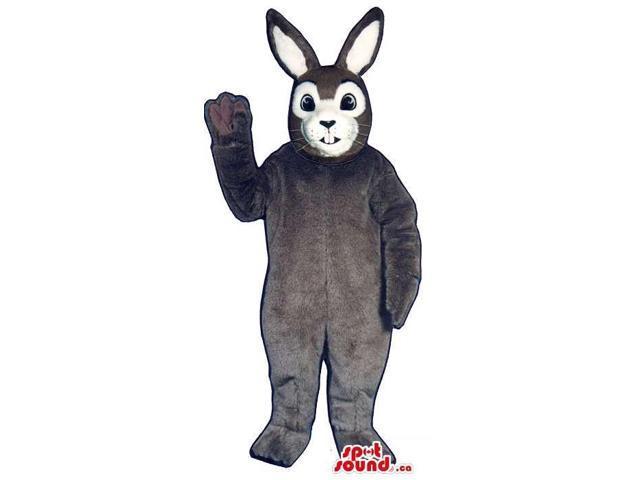 Dark Grey Bunny Rabbit Plush Canadian SpotSound Mascot With A White Face