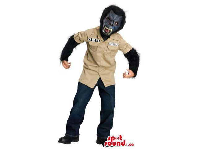 Scary Werewolf Character Children Size Costume With Safari Jacket