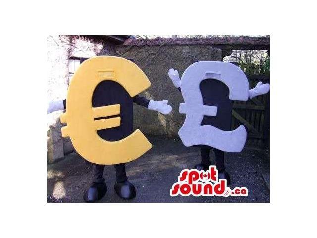 Peculiar Pair Of Currency Symbols Euro And Pound Sterling Canadian SpotSound Mascots