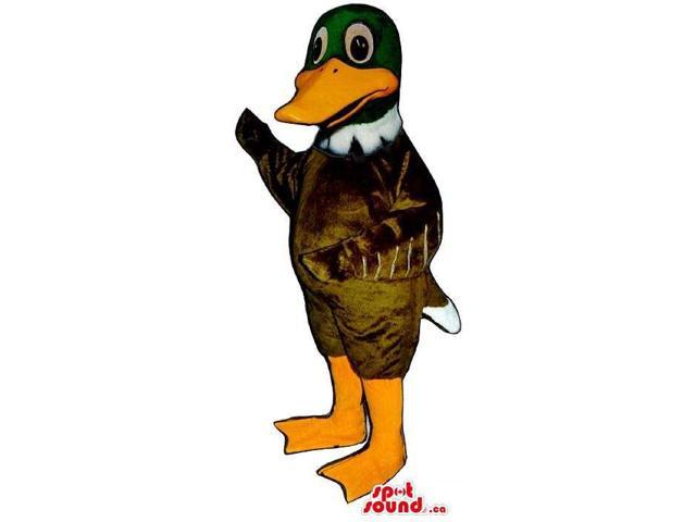 Cute Brown Duck Canadian SpotSound Mascot With A Green Head And Orange Beak