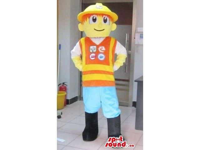 Human Character Canadian SpotSound Mascot Dressed In Construction Worker Gear