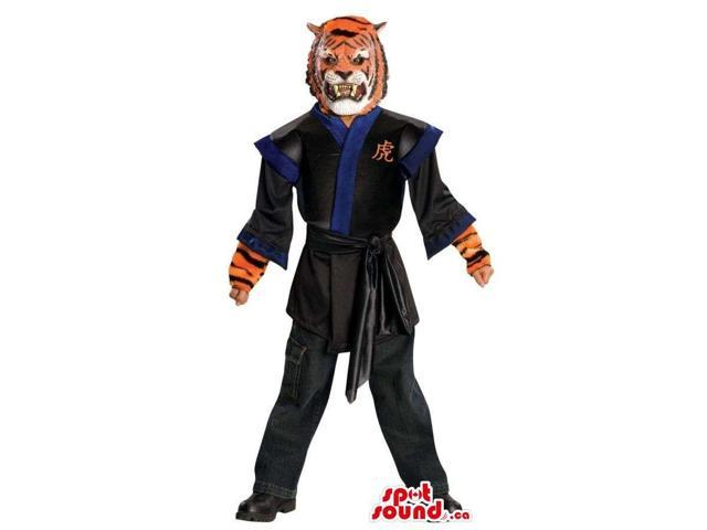 Tiger Character Costume Dressed In Martial Arts Clothes