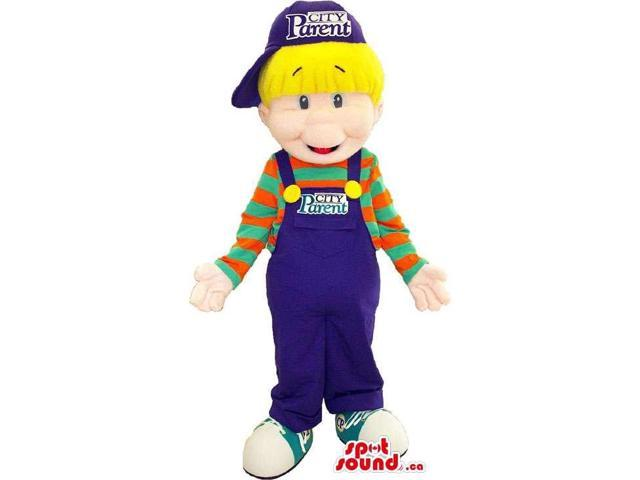 Blond Boy Peculiar Canadian SpotSound Mascot Dressed In Blue Overalls And A Striped Shirt