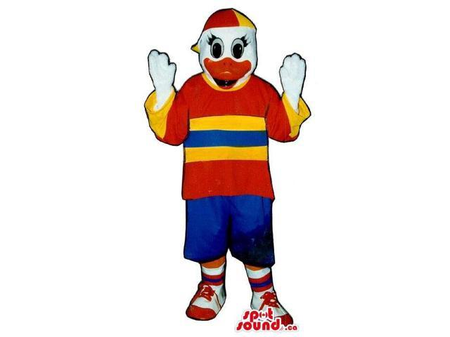 Cool White Duck Plush Canadian SpotSound Mascot Dressed In Red And Yellow Gear