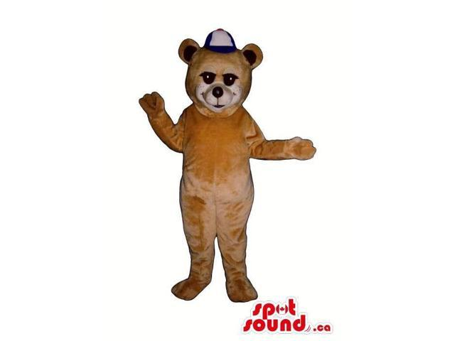 Light Brown Bear Plush Canadian SpotSound Mascot Dressed In A White And Blue Cap