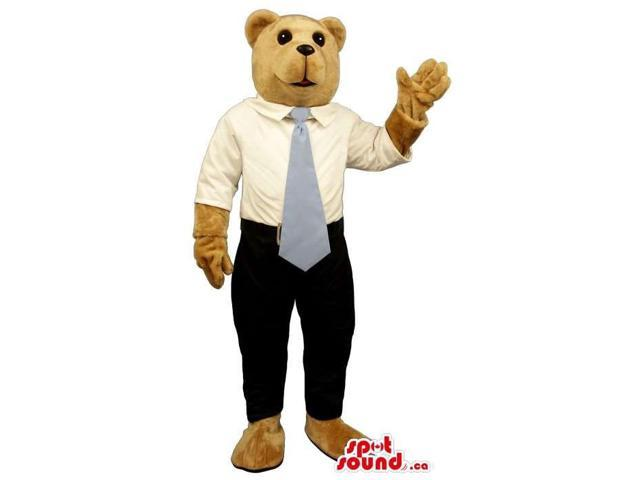 Light Brown Bear Plush Canadian SpotSound Mascot Dressed In A White Shirt And Blue Tie
