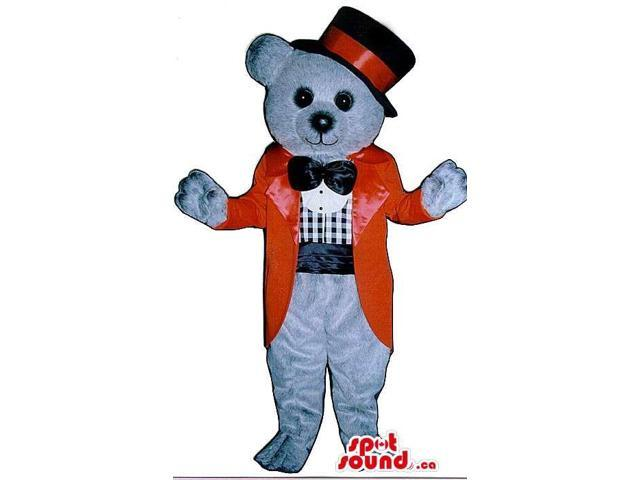 Grey Bear Plush Canadian SpotSound Mascot Dressed In A Top Hat And Elegant Red Jacket
