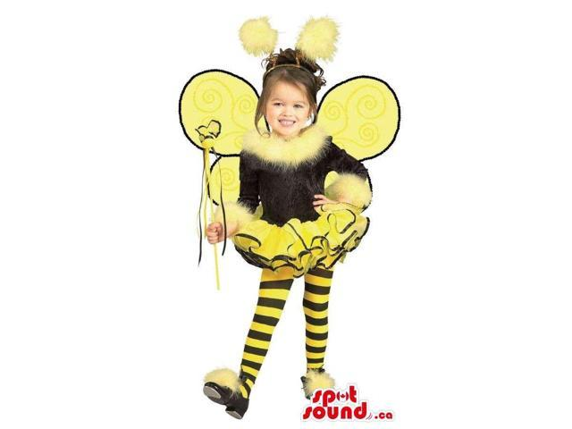 Bee Children Size Costume With Wings And Striped Panties