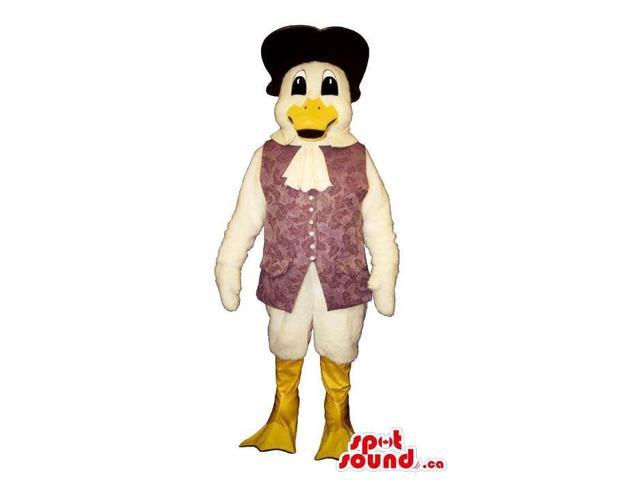 White Duck Plush Canadian SpotSound Mascot Dressed In An Old-Style Purple Vest And Hat