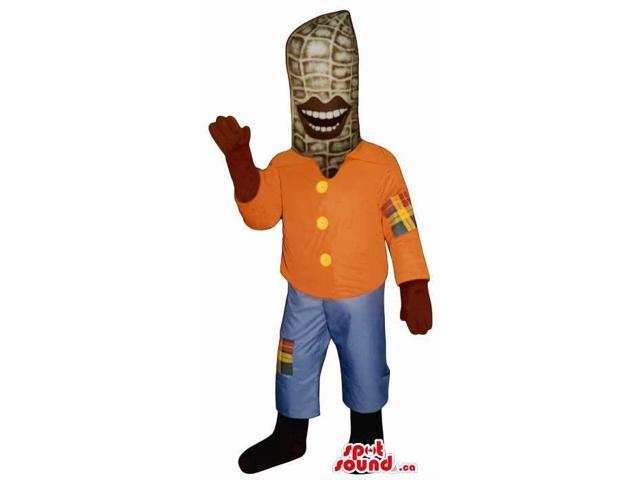 Peculiar Corncob Canadian SpotSound Mascot With Large Lips Dressed In Scarecrow Clothes