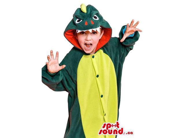 Peculiar Green And Yellow Dragon Adult Size Plush Costume