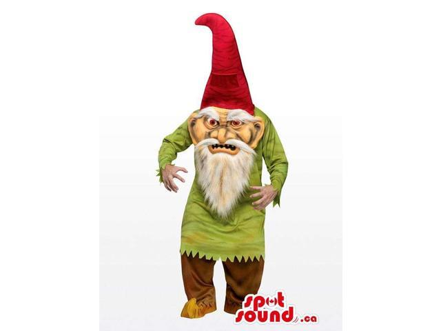 Real-Looking Scary Dwarf Or Gnome Canadian SpotSound Mascot With A Pointy Red Hat