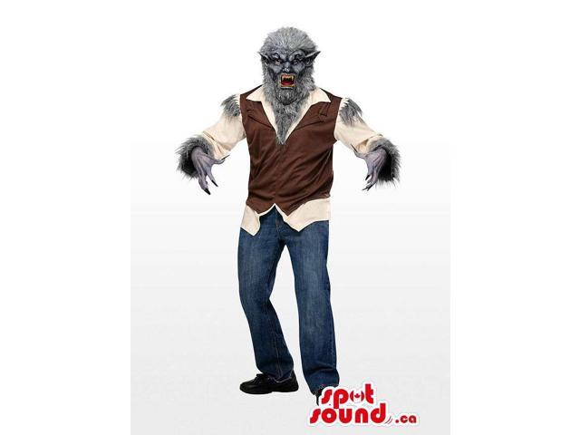 Real-Looking Scary Werewolf Horror Canadian SpotSound Mascot With A Brown Vest
