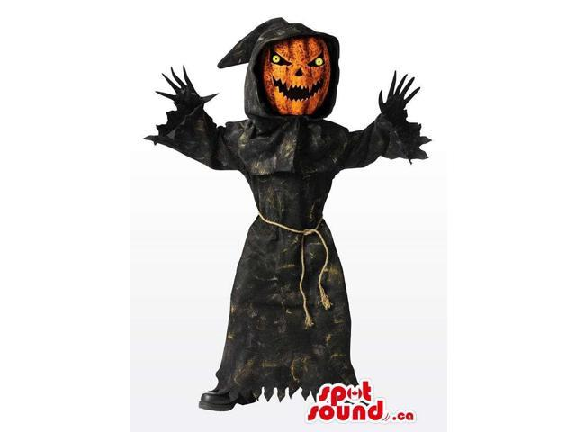 Real-Looking Scary Pumpkin Horror Canadian SpotSound Mascot In A Black Dress