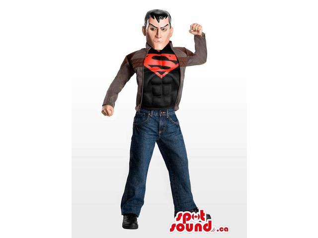 Human Adult Size Costume Dressed In A Superman T-Shirt