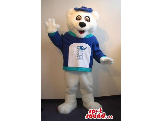 Customised All White Bear Plush Canadian SpotSound Mascot In A T-Shirt With A Logo
