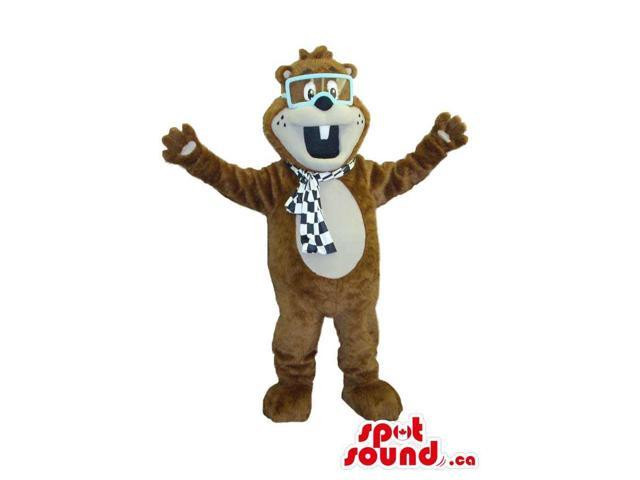 Brown Chipmunk Plush Canadian SpotSound Mascot In Car Racer Glasses And A Scarf