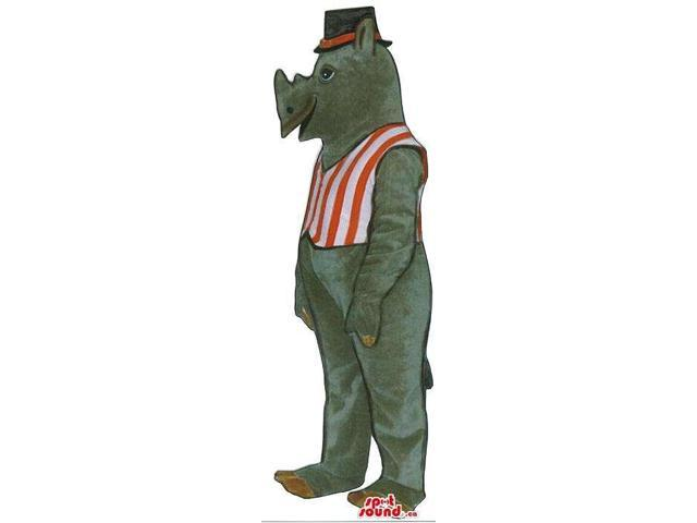 Grey Rhinoceros Plush Canadian SpotSound Mascot In A Striped Vest And A Hat