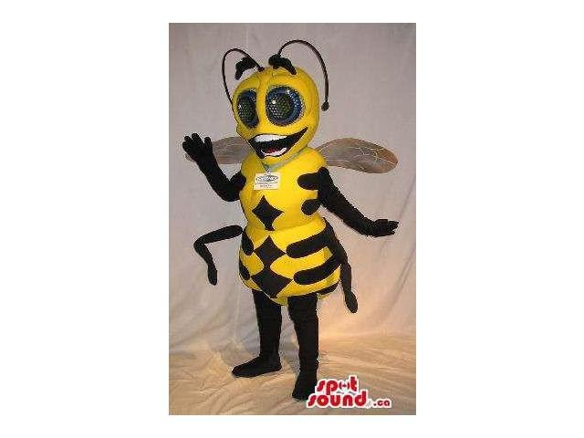 Cute Bee Insect Plush Canadian SpotSound Mascot With Large Eyes And A Logo