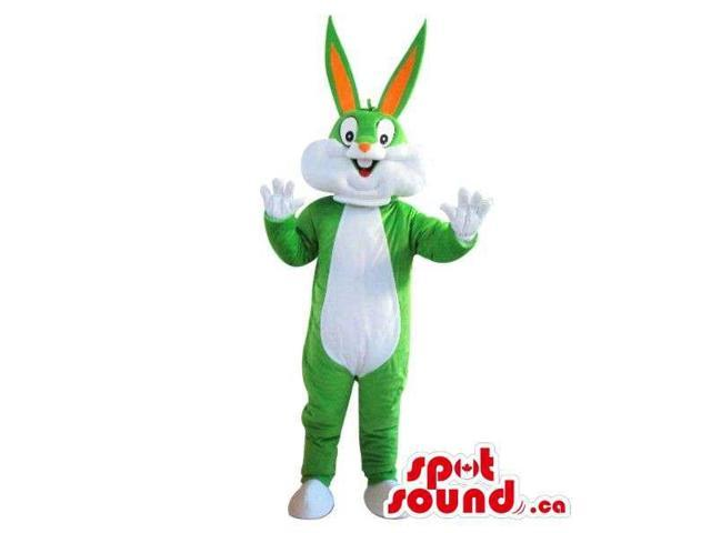 Cute Bugs Bunny Alike Plush Canadian SpotSound Mascot In Green And White
