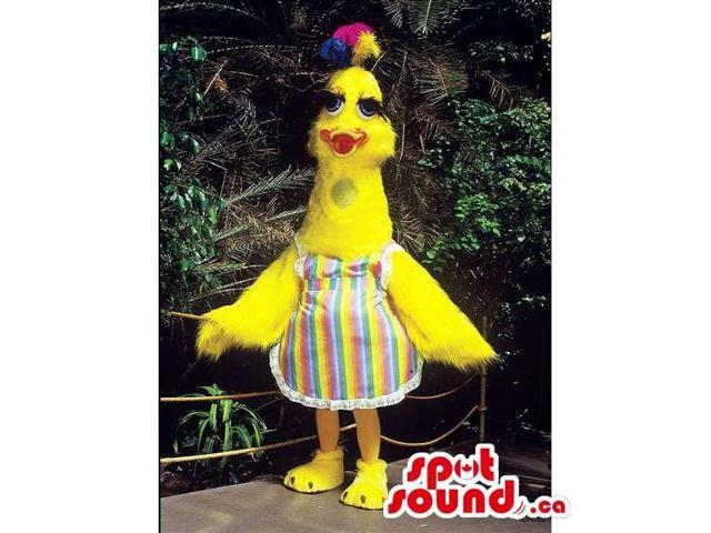 Customised Yellow Bird With Rainbow Colors Dressed In An Apron
