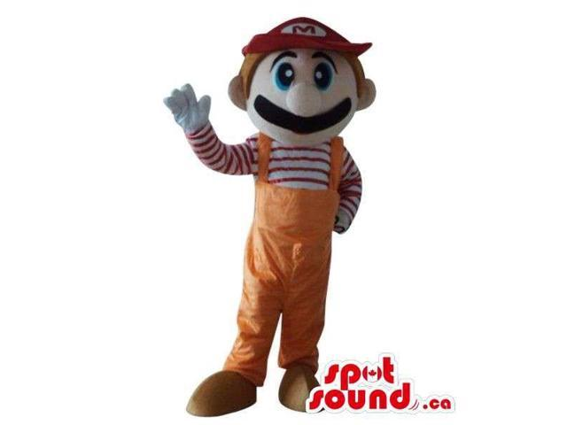 Mario Bros. Video Game Character Canadian SpotSound Mascot In Orange Overalls