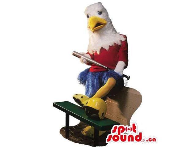 Eagle Canadian SpotSound Mascot With Red And Blue Clothes And A Baseball Bat
