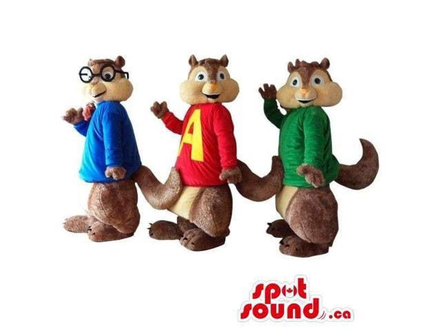 Well-Known Group Of Three Chipmunk Cartoon Character Plush Canadian SpotSound Mascots