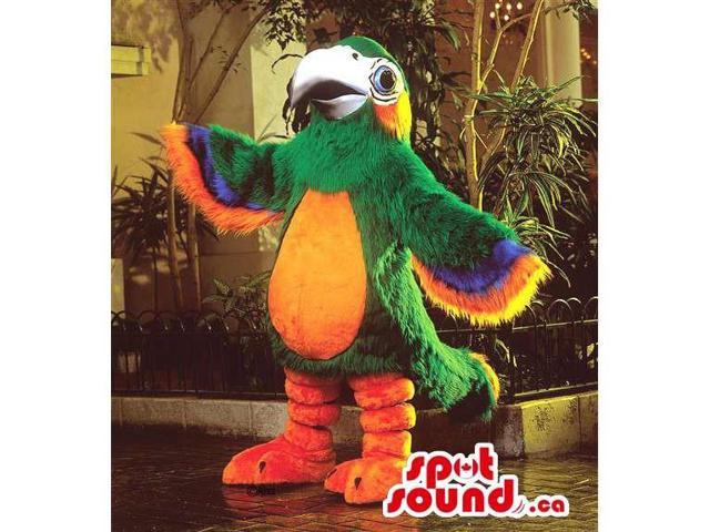Customised Green And Colourful Parrot Bird Canadian SpotSound Mascot