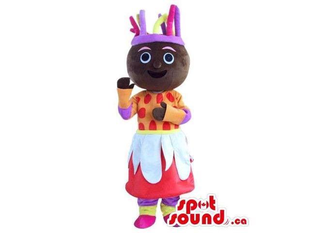 Dark Cosmic Girl Plush Canadian SpotSound Mascot With A Flashy Dress