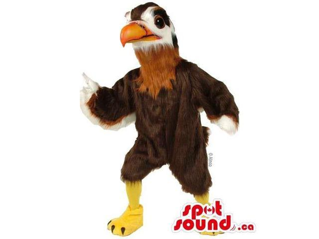Customised Brown And White Bird Canadian SpotSound Mascot With An Orange Beak