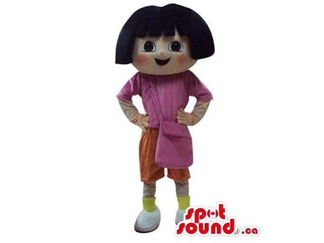 Dora The Explorer Cartoon Character Canadian SpotSound Mascot With Red Cheeks