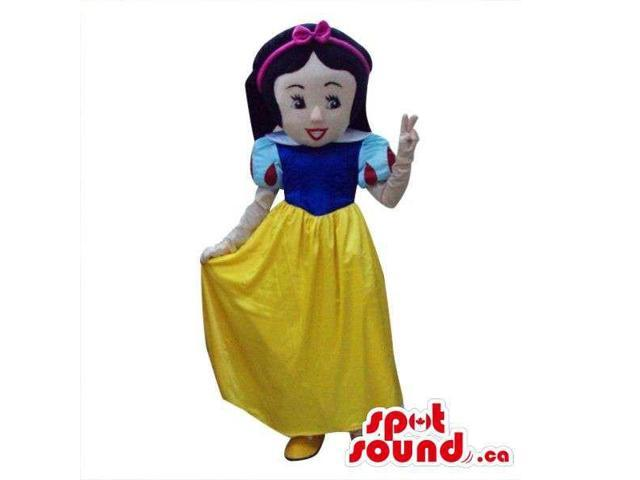 Snow White Girl Tale Character Plush Canadian SpotSound Mascot With A Yellow Dress