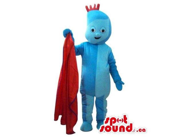 Blue Cosmic Boy Plush Canadian SpotSound Mascot With A Red Towel And Hairs