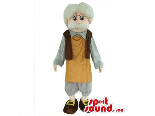Gepetto Pinocchio Tale Character Plush Canadian SpotSound Mascot With A White Beard