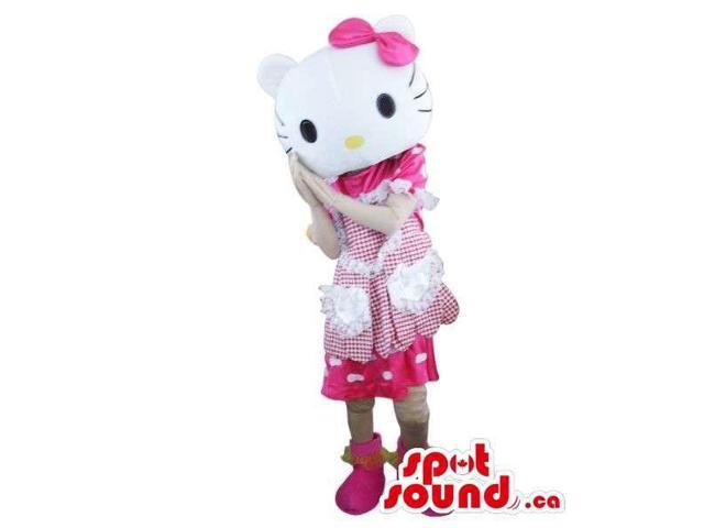 Kitty Cartoon Character Plush Canadian SpotSound Mascot With A White And Pink Dress
