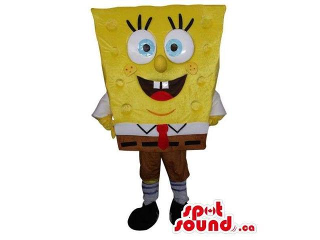 Sponge Bob Square Pants Cartoon Character Canadian SpotSound Mascot With Blue Eyes