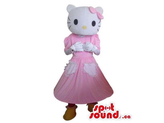Kitty Cartoon Character Plush Canadian SpotSound Mascot With A Long Dress
