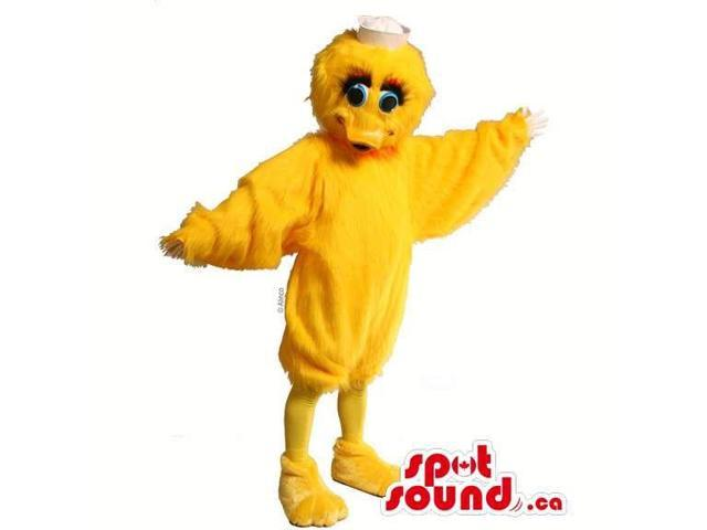 Customised Yellow Peculiar Duck Animal Canadian SpotSound Mascot With Blue Eyes