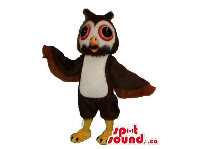 Customised Brown Owl Bird Canadian SpotSound Mascot With White Belly